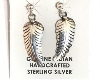 Native American Navajo Handmade Sterling Silver Feather Dangle Earrings