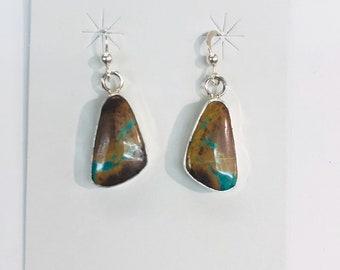 Native American Navajo handmade sterling silver Bolder Turquoise Drop Earrings