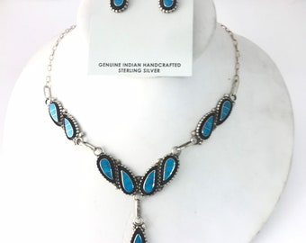 Native American Zuni handmade Turquoise and sterling silver necklace and earring set
