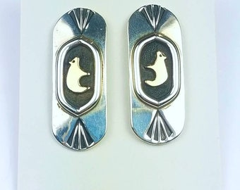 Native American Navajo handmade Sterling Silver 14k Gold overlay bear stud earrings