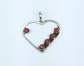Native American Zuni handmade Sterling Silver Coral petit point heart pendant