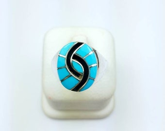 Native American Zuni handmade Sterling Silver Turquoise inlay ring