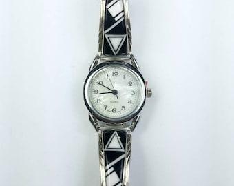 Native American Navajo handmade Sterling Silver inlay Onyx Howlite stone watch