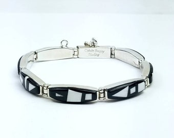 Native American Navajo handmade Sterling Silver multi-stone inlay link bracelet by Calvin Begay