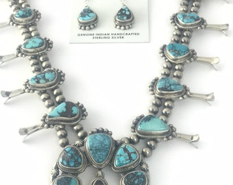 Stunning Vintage Style Native American Navajo handmade Sterling Silver and Stormy Mountain Turquoise Squash Blossom Necklace and Earring set