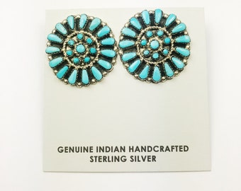 Native American Zuni Handmade Sterling Silver Kingman Turquoise Earrings
