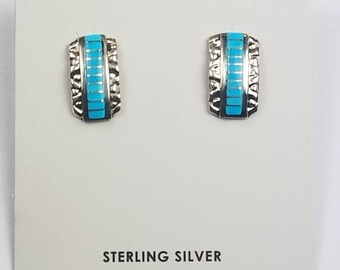 Native American Zuni handmade Sterling Silver channel inlay Sleeping Beauty Turquoise post earrings