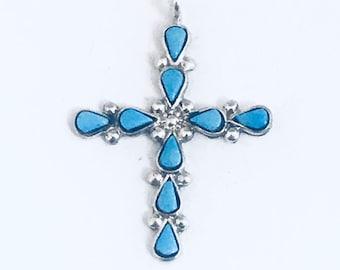 Native American Zuni  Handmade Sterling Silver Turquoise Inlay Cross Pendant