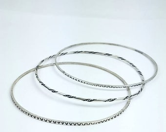 Native American Navajo handmade Sterling Silver bangles