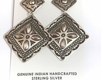 Native American Navajo Handmade Sterling Silver Dangle Earrings