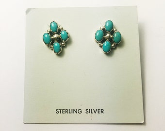 Native American Navajo Handmade Sterling Silver Smokey Valley Turquoise Earrings