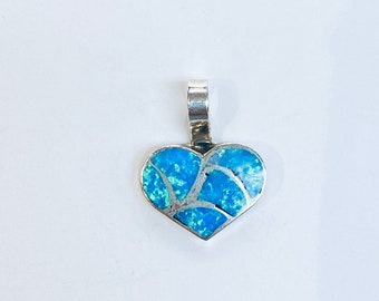 Native American handmade Zuni Inlay sterling silver and blue green opal heart pendant