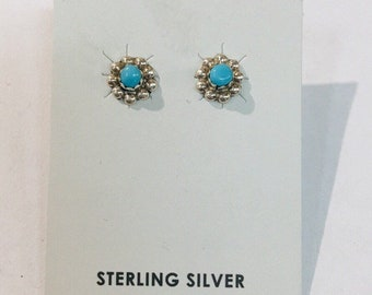 Native American Navajo handmade Sterling Silver and Turquoise stud earrings