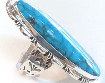Huge Native American Navajo handmade sterling silver kingman Turquoise Long ring
