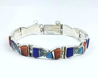 Native American Navajo handmade Sterling Silver multi-stone inlay link bracelet by Calvin Begay