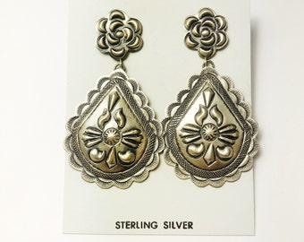 Native American Navajo Handmade Sterling Silver Vintage Patina Earrings