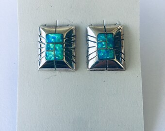 Native American Handmade Zuni Inlay sterling silver set with blue green opal stud earrings