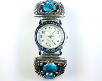 Native American Navajo handmade Sterling Silver Natural Kingman Turquoise stone watch