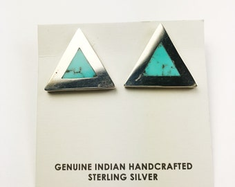 Native American Navajo Handmade Sterling Silver Nevada Turquoise Earrings