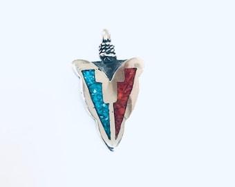 Native American Navajo handmade sterling silver turquoise in Mediterranean Coral arrowhead pendant