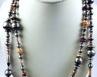 Native American Sterling Silver Navajo Pearl Spiny Oyster graduated beaded necklace