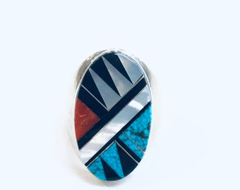 Native American Zuni handmade sterling silver multicolored inlay men's/women's ring