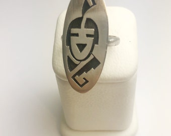 Native American Navajo Handmade Sterling Silver Antique Finish Ring