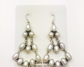 Native American Navajo Handmade Sterling Silver Turquoise MOP Earrings