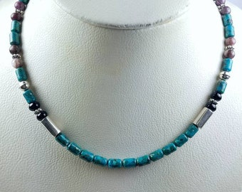 Native American Navajo handmade Sterling Silver Turquoise Onyx Charoite Denim Lapis bead necklace by Tommy and Rosita Singer