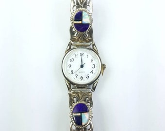 Native American Navajo handmade Sterling Silver inlay Opal Sugilite Onyx stone watch