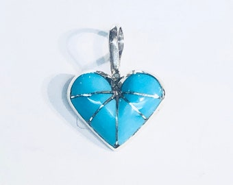 Native American Zuni handmade sterling silver sleeping beauty turquoise heart pendant