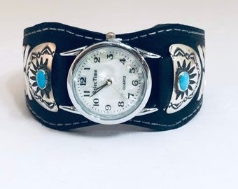Native American Handmade Navajo Leather Sterling Silver and Turquoise Watch Cuff Bracelet