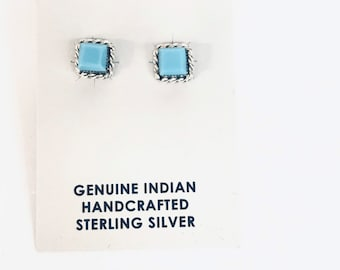 Native American Navajo handmade sterling silver set with turquoise stud earrings