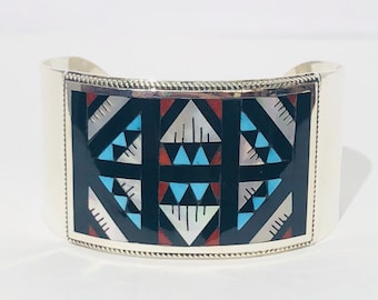 Native American Zuni Handmade Sterling silver, turquoise, Mediterranean coral, and mother of pearl inlay bracelet