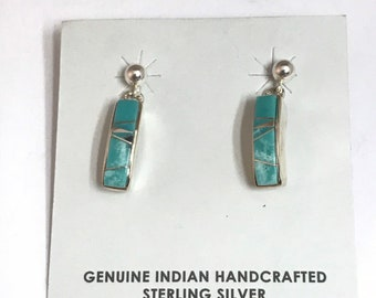Native American Navajo Handmade Sterling Silver Turquoise Inlay Earrings