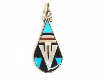 Native American Zuni Handmade multicolored inlay pendent