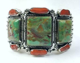 Native American Navajo handmade Sterling Silver multi-stone cuff bracelet