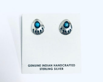 Native American Navajo handmade sterling silver earrings (bear paw design)set with Turquoise