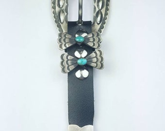 Native American Navajo handmade Sterling Silver Turquoise stone ranger set belt buckle