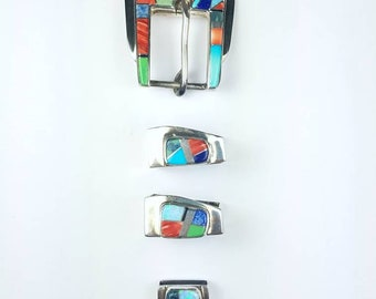Native American Navajo handmade Sterling Silver inlay Turquoise Onyx Lapis Spiny Oyster Opal stone ranger set belt buckle