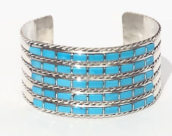Native American Zuni Handmade Sleeping beauty Turquoise Inlay Cuff Bracelet