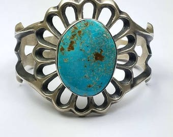 Native American Navajo handmade Sterling Silver Hachita Turquoise cuff bracelet