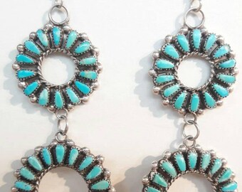 Native American Zuni Handmade Needle Point Turquoise Chandelier Earrings