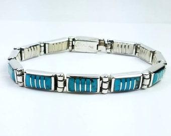 Native American Navajo handmade Sterling Silver multi-stone inlay reversible link bracelet