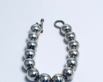 Native American Handcrafted Navajo Sterling Silver Bead Bracelet