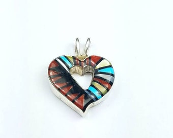 Native American Zuni handmade Sterling Silver inlay genuine Onyx Coral Turquoise Mother of Pearl heart pendant