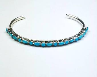 Native American Zuni handmade Sterling Silver Sleeping Beauty Turquoise cuff bracelet