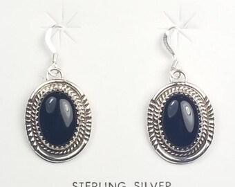 Native American Navajo handmade Sterling Silver Black Onyx dangle earrings