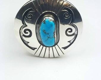 Reversible Native American Navajo handmade Sterling Silver Sleeping Beauty Turquoise Mediterranean Coral stone medallion pendant