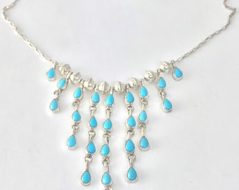 Native American Zuni Handmade Sterling Silver and Sleeping Beauty Turquoise Necklace